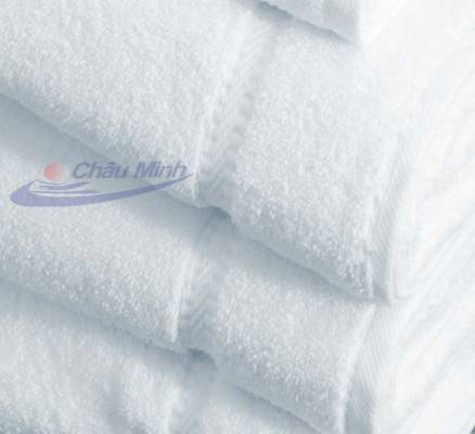 Khăn tắm cotton 70x140cm 500gr dùng trong khách sạn (Màu trắng xanh)