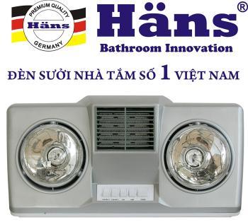Đèn sưởi nhà tắm Hans 2 bóng thổi gió nóng H2B-HW