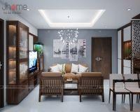 Thiết kế & thi công nội thất phòng khách chung cư tòa nhà hỗn hợp Hoàng Quốc Việt - Nội thất Jhome
