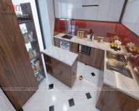 Thiết kế nội thất phòng bếp chung cư Vimeco gỗ óc chó - Nội thất Jhome