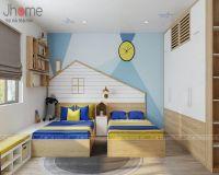 Thiết kế nội thất phòng ngủ trẻ em chung cư Vimeco gỗ óc chó - Nội thất Jhome