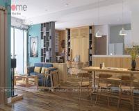 Thiết kế nội thất phòng khách, bếp chung cư Ecopark nhà anh Phúc - Nội thất Jhome