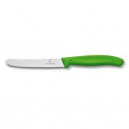 Dụng cụ cắt rau quả hiệu  Victorinox lưỡi răng cưa dài 11cm màu lá cây