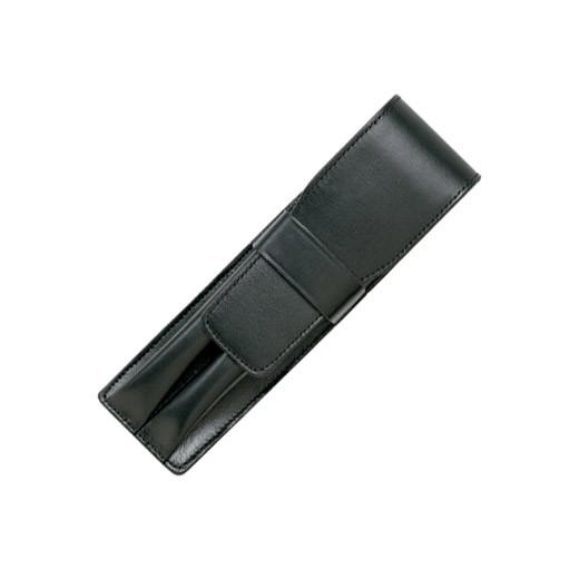 Bao da thời trang cao cấp cho bút Lamy A32 màu đen, loại 2 cây