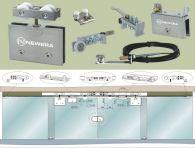 Phụ kiện cửa trượt lùa 2 cánh kính bán tự động NewEra, kính dày 8-12mm, tải trọng 100kg/cánh
