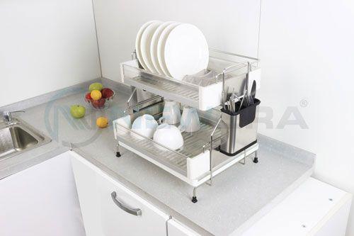 Giá để bát đĩa inox 2 tầng NewEra để trên bàn bếp