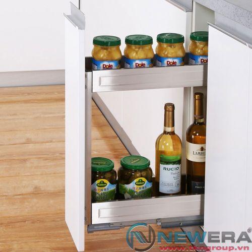 Giá đựng gia vị NewEra giảm chấn inox hộp 304, rộng 200mm