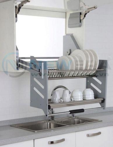 Kệ bát đĩa di động 2 tầng NewEra lắp tủ trên, inox 304, giảm chấn, rộng 800mm