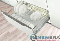 Kệ ngăn kéo ray âm giảm chấn đựng bát đĩa newera cánh kéo có khay hứng nước, rộng 800mm