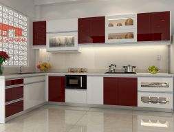 Tủ bếp Acrylic bán chạy nhất bàn đảo chữ L