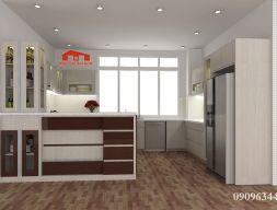 Tủ bếp MFC vân gỗ có quầy bar