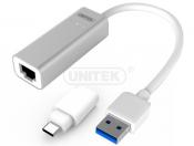 Cáp chuyển đổi USB3.0 Gigabit + 1 đầu USB type-c ( Y-3464A )