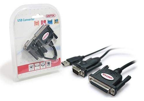 Cáp chuyển đổi USB sang Parallel & Serial Unitek Y-107 (Đen)