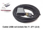 Cáp nối dài USB 2.0 Unitek 5m Y-271