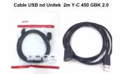 Cáp USB nd Unitek 2m Y-C450GBK