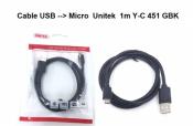 Cáp Micro USB Unitek 1m Y-C451GBK