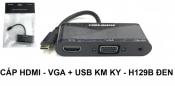 Cáp HDMI - VGA + USB KM KY - H129B Đen