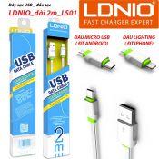 Dây sạc USB_đầu sạc LDNIO dài 2m LS01
