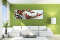 Tranh hoa đào bộ 3 tấm khổ lớn 1,8met AmiA 371
