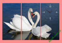 Tranh đôi chim thiên nga chụm đầu treo phòng ngủ lãng mạn