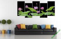 Tranh hoa sen khổ lớn ghép bộ treo phòng khách sang trọng