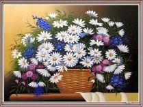 TSD 208 - Tranh sơn dầu giỏ hoa cúc họa mi đẹp