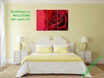 Tranh bông hồng tinh sương treo phòng ngủ lãng mạn AmiA 142