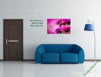 Tranh đồng hồ treo tường hoa cúc tím bộ 3 tấm AmiA 281