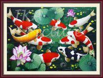 TSD 165 - Tranh cá chép hoa sen vẽ sơn dầu
