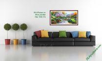 TSD 174 - Tranh phong cảnh khu vườn thu vẽ sơn dầu