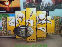 TSD126 - Tranh bình hoa rum vàng ghép bộ vẽ sơn dầu