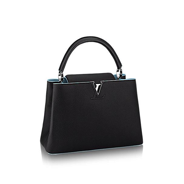 Túi xách LV Capucines MM đen viền xanh