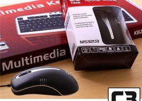 KEYBOARD  C3 TECH KB2200 Multi  PS2 + MOUSE  C3 TECH MS3203 Optical  USB  Hàng chính hãng