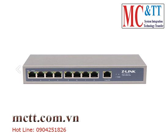 Switch POE 8 cổng + 1 cổng ethenet uplink 150W Z-link Z-PES-8TP1TX