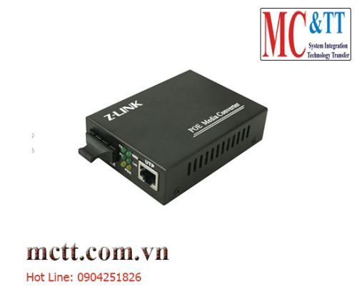 Switch POE 1 cổng + 1 cổng quang Gigabit Single fiber 20KM 30W Z-link Z-PMC-1GX1GP-SC20S