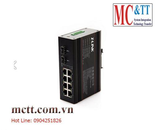 Switch công nghiệp POE 8 cổng ethernet + 2 cổng quang SFP Z-link Z-IES-2GX8TP-SFP