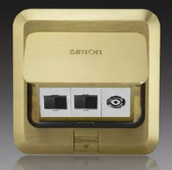 Ổ cắm âm sàn Simon 2 ổ điện thoại,1 ổ Tivi