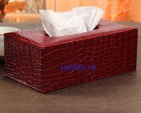 Hộp khăn giấy bọc da cao cấp màu đỏ