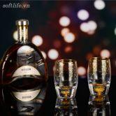 Bộ 2 cốc pha lê uống rượu mạnh đúc vàng lá 24K-S06