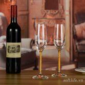 Ly champagne pha lê đúc vàng lá 24K-S08