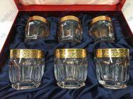 Bộ 6 cốc pha lê khảm vàng 24K viền hoa CT01