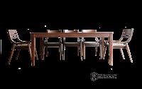 Bộ bàn ghế ăn gỗ óc chó | Mẫu 004Table6TN | Nghĩa Furniture Tphcm