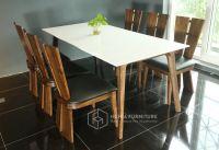 Bàn ghế ăn óc chó mặt đá CW290D-BL1