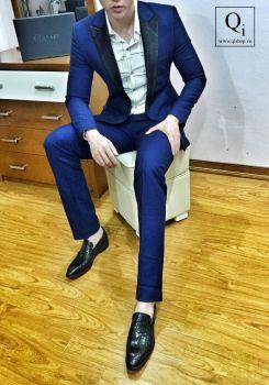 Suit CRAZIM Xanh Dương Cổ Bóng