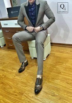 Suit nam CRAZIM Ghi Sáng Cổ Bóng