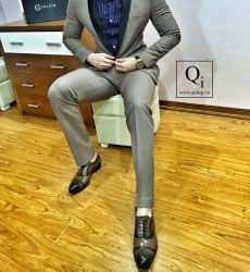 Suit CRAZIM Ghi Sáng VT Cổ Bóng