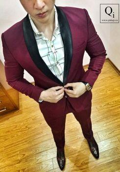 Suit CRAZIM Đỏ Đô VT Cổ Bóng