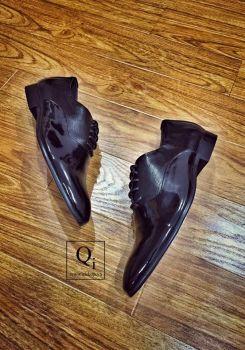 Giày da CRAZIM Bóng Dọc Đen