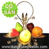 Khay trưng bày trái cây 5 lá mạ vàng 0156