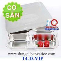 Khay cơm 4 ngăn inox 304 cao cấp Hàn Quốc-nắp nhựa